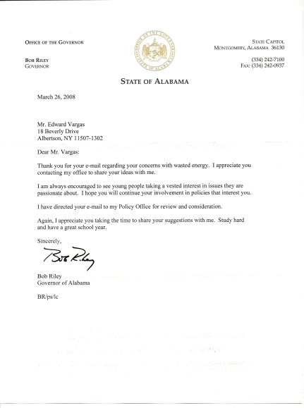 Letter from Governor of Alabama